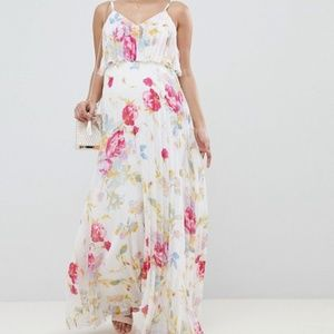 ASOS Design Floral Pleated Maxi Dress Sz 10 296